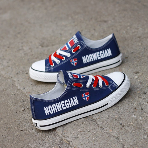 Custom Printed Low Top Canvas Shoes - Norwegian Pride