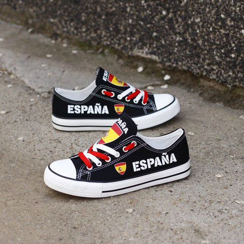 España Fuerte Shoes Low Top Canvas Custom Printed Sneakers