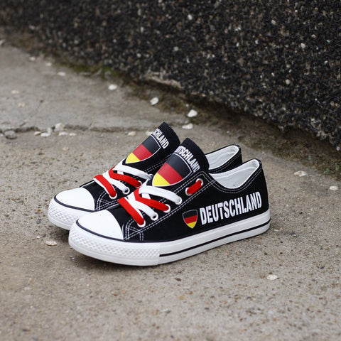 Custom Printed Low Top Canvas Shoes - Deutschland Proud
