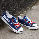 Custom Printed Low Top Canvas Shoes - France Strong