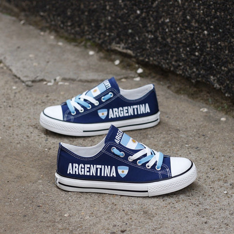 Argentina Flag Pride Shoes Low Top Canvas Custom Printed Sneakers