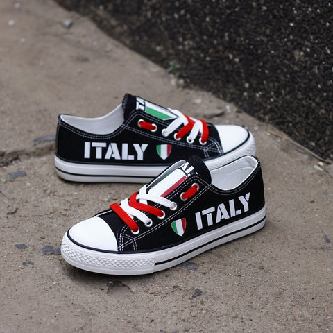 Italy Flag Pride Shoes Low Top Canvas Custom Printed Sneakers