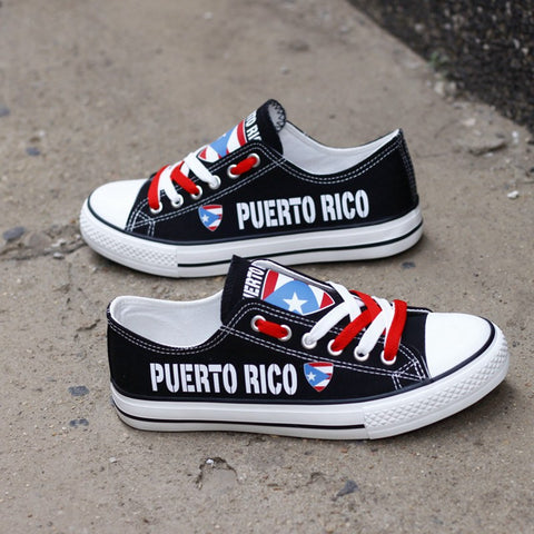 Custom Printed Low Top Canvas Shoes - Proud Puerto Rico