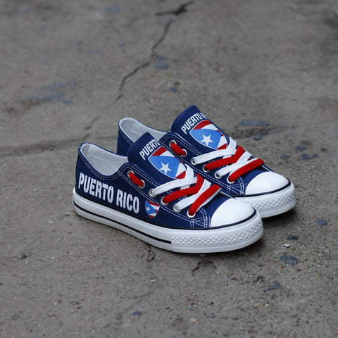 Puerto Rico Blue Flag Pride Shoes Low Top Canvas Custom Printed Sneakers