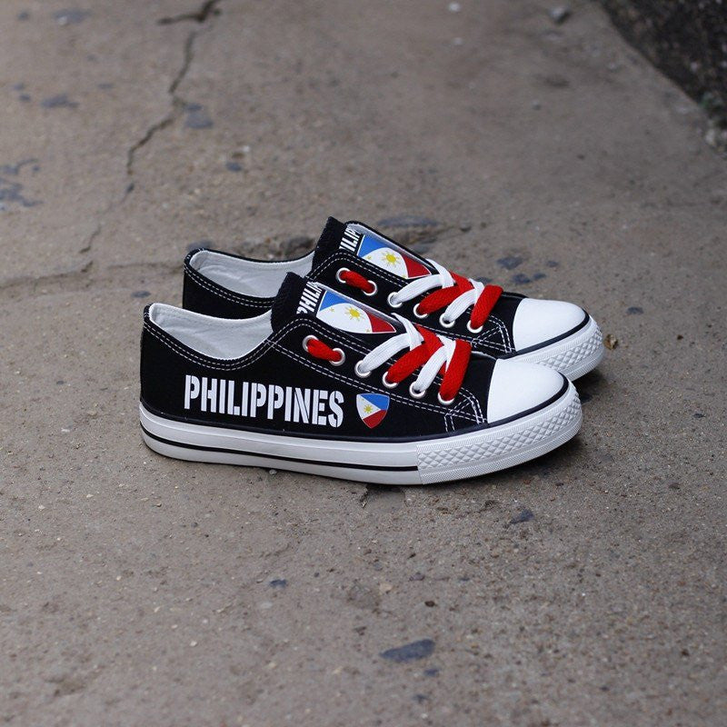 a8a9105f93 Custom Printed Low Top Canvas Shoes - Philippines Strong – Da Shirt Guy