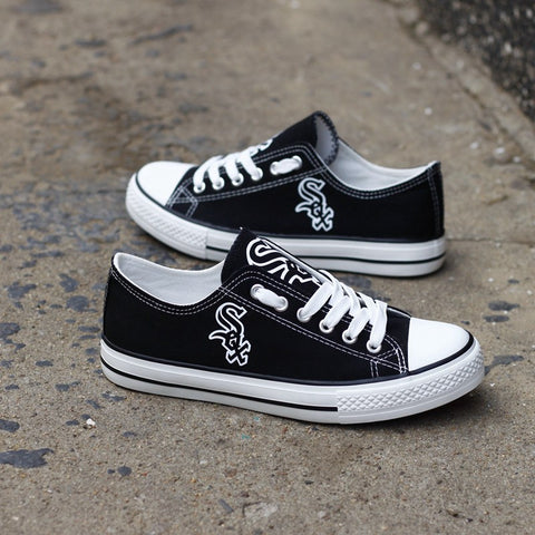 Custom Printed Low Top Canvas Shoes - Chicago White Sox Black