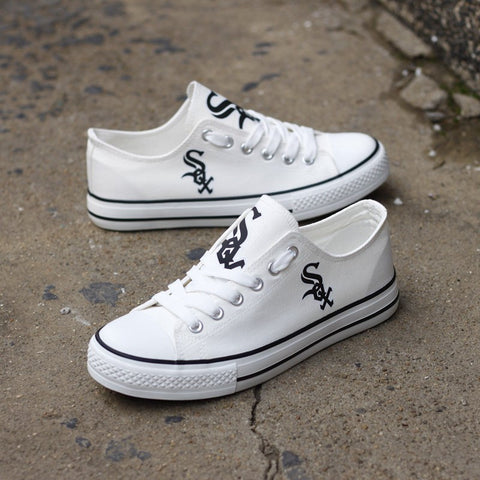 Custom Printed Low Top Canvas Shoes - Chicago White Sox