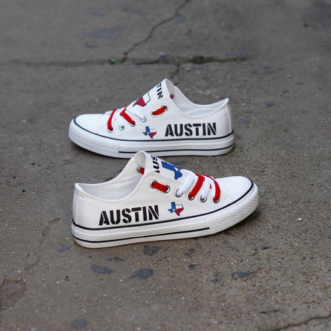 Custom Printed Low Top Canvas Shoes - Austin Texas White