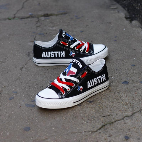 Austin Texas Black Shoes Low Top Canvas Custom Printed Sneakers