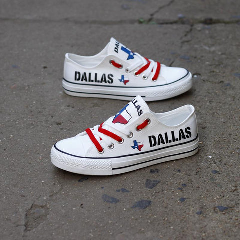Dallas Texas White Low Top Canvas Shoes Custom Printed Sneakers