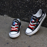 Dallas Texas Black Shoes Low Top Canvas Custom Printed Sneakers