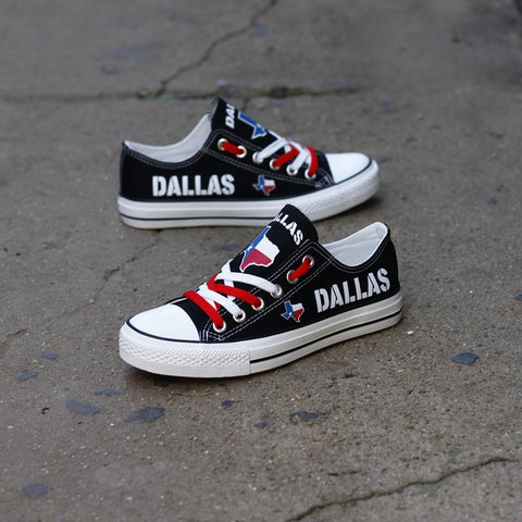 Dallas Texas Black Low Top Canvas Shoes Custom Printed Sneakers