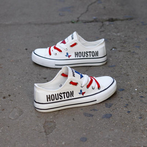 Custom Printed Low Top Canvas Shoes - Houston Texas White