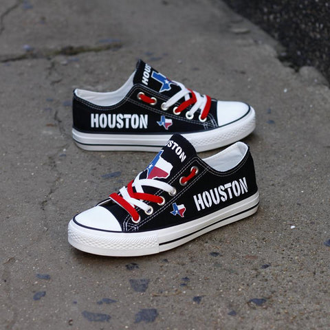 Custom Printed Low Top Canvas Shoes - Houston Texas Black