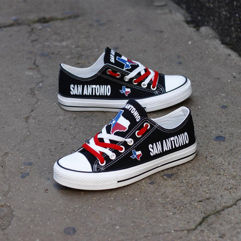 San Antonio Texas Black Flag Pride Low Top Canvas Shoes Custom Printed Sneakers
