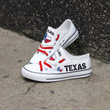 Custom Printed Low Top Canvas Shoes - Texas Proud White