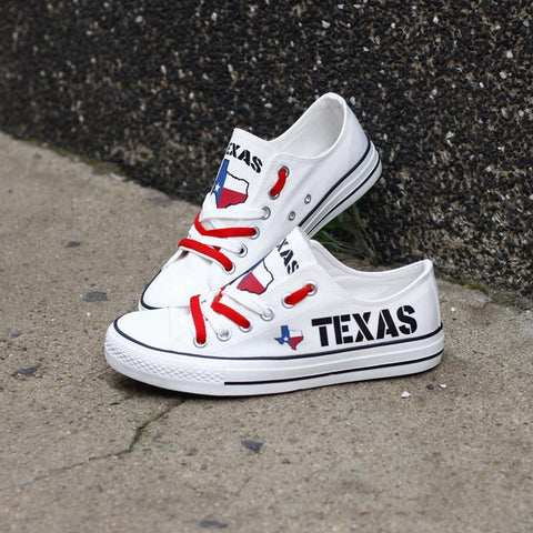 Texas White Flag Pride Shoes Low Top Canvas Custom Printed Sneakers