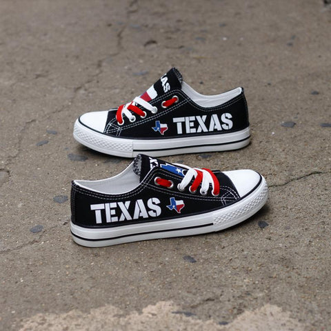 Custom Printed Low Top Canvas Shoes - Texas Proud Black