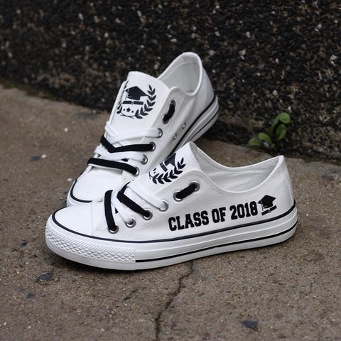 Class of 2018 Graduation (White) Shoes Low Top Canvas Custom Printed Sneakers