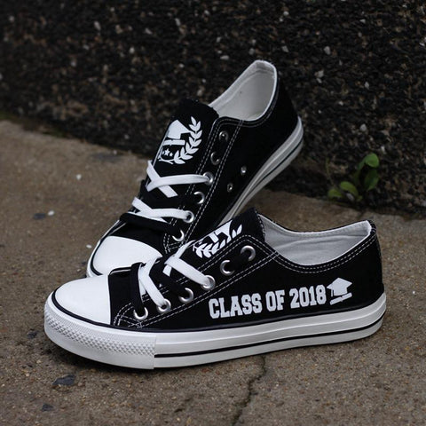 Class of 2018 Graduation Shoes Low Top Canvas Custom Printed Sneakers