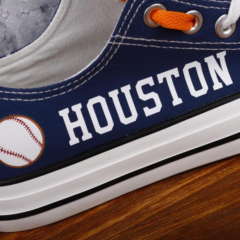 Houston Baseball Shoes Low Top Canvas Custom Printed Sneakers