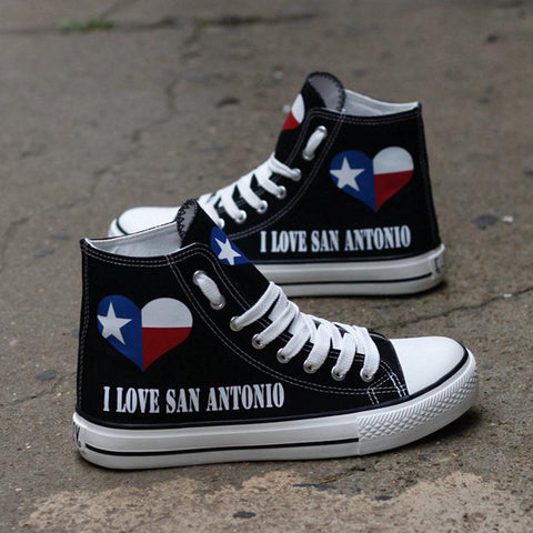I Love San Antonio Shoes High Top Canvas Custom Printed Sneakers