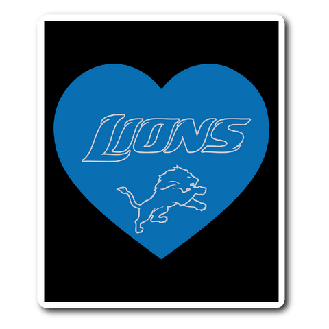 Detroit Lions Simple Heart Vinyl Sticker (Free Shipping)
