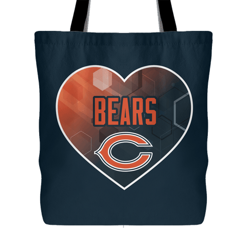 Chicago Bears Patterned Heart Tote Bag (Free Shipping)