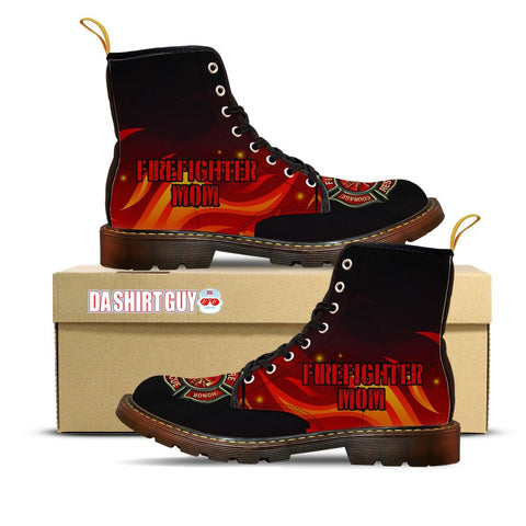 Firefighter Mom Custom Printed Canvas Boots