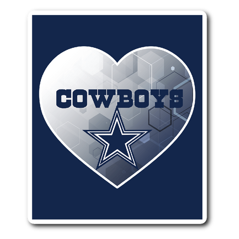 Dallas Cowboys Patterned Heart Vinyl Sticker (Free Shipping)