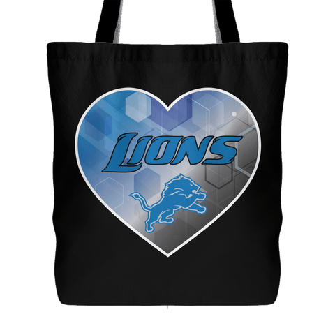 Detroit Lions Patterned Heart Tote Bag (Free Shipping)