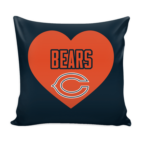 Chicago Bears Simple Heart Pillow Cover (Free Shipping)