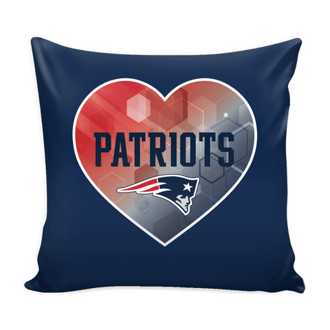 New England Patriots Patterned Heart Pillow Cover (Free Shipping)