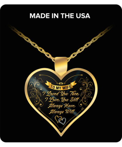 To My Wife Gold Plated Heart Necklace