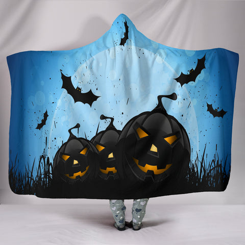 Pumpkins & Bats Halloween Plush Lined Hooded Blanket