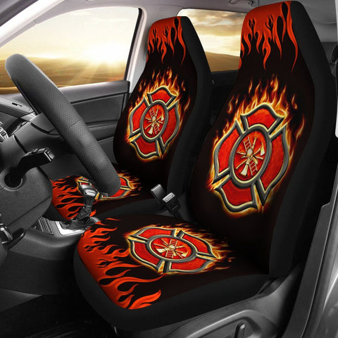 Firefighter Custom Printed Car Seat Covers (set of 2)
