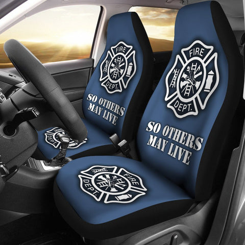 Firefighter Custom Printed Car Seat Covers (white cross)