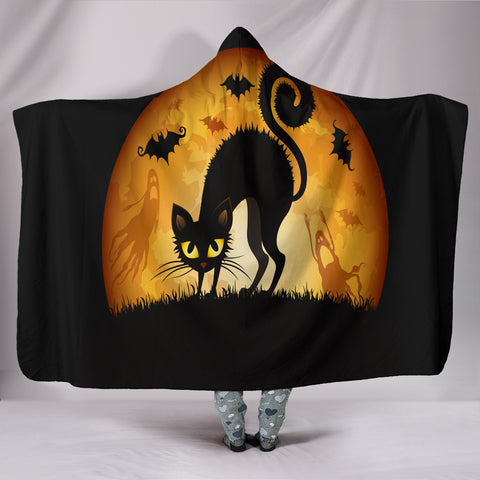 Black Cat Halloween Plush Hooded Blanket