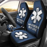 EMS Custom Printed Car Seat Covers (white star of life)