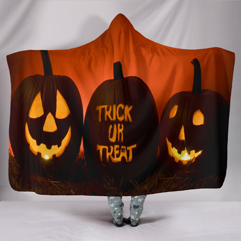 Halloween Pumpkins Plush Lined Hooded Blanket
