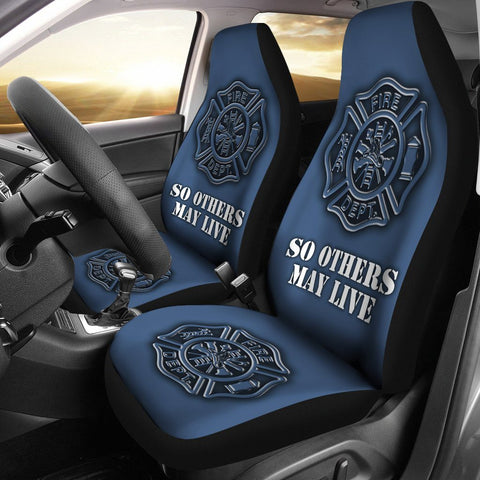 Firefighter Custom Printed Car Seat Covers (black cross)