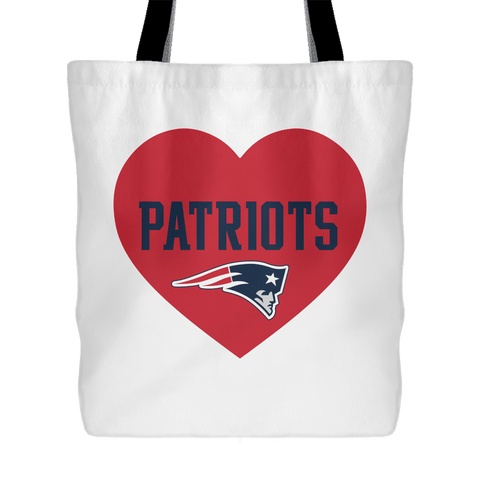 New England Patriots Simple Heart Tote Bag (Free Shipping)