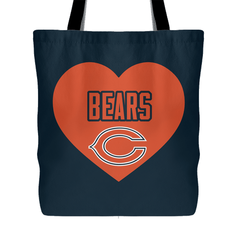 Chicago Bears Simple Heart Tote Bag (Free Shipping)