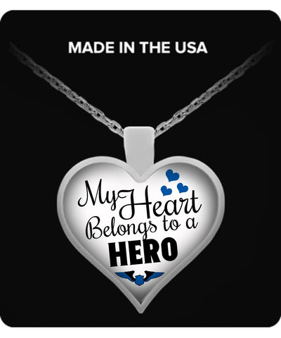 Necklace - My Heart Belongs To A Police Officer Hero Necklace