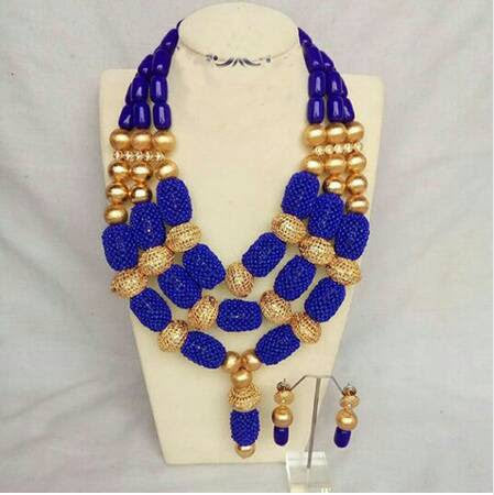 J0001- Blue Designed Gold Plated Necklace Set (3pc)