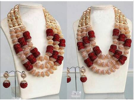 J0002- Red Designed Gold Plated Necklace Set (3pc)