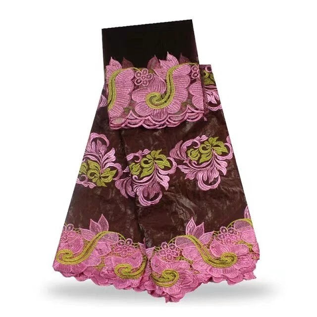 FL0016- Brown Brocade Fabric with Pink and Gold Flower Design