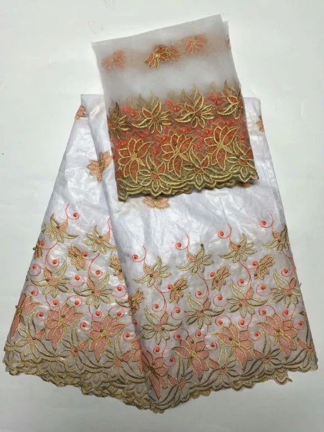 FL0020- White Brocade Fabric with Red and Gold Design