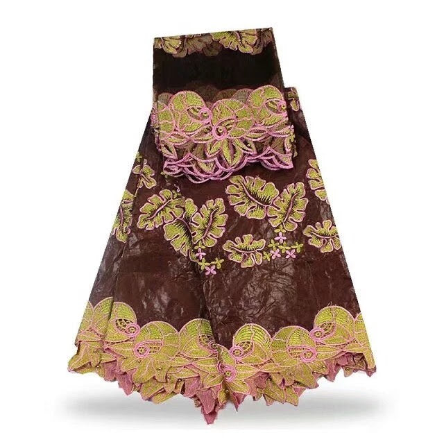FL0021- Brown Brocade Fabric with Gold and Pink Leaf Design