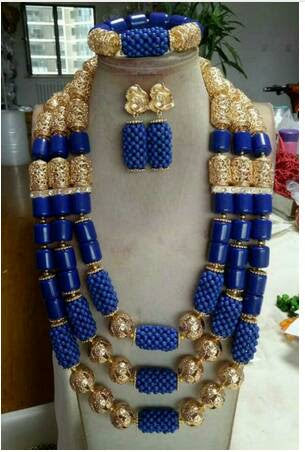 J0004- Long Blue Designed Gold Plated Necklace Set (3pc)